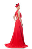 Pretty caucasian model in red long evening dress isolated on whi Royalty Free Stock Images