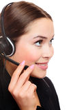 Pretty caucasian woman with headset Royalty Free Stock Images