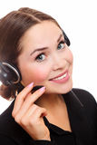 Pretty caucasian woman with headset Stock Photos