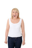 Pretty caucasian woman screaming. Pretty caucasian woman standing and screaming. Isolated on white Stock Photos
