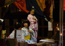 Pretty charm sellers at Gion Matsturi festival in Kyoto Japan Stock Photography