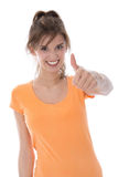 Pretty charming girl isolated over white with thumb up. Stock Images