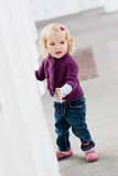 Pretty charming toddler girl playing Stock Photo