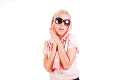 Pretty charming young girl in sunglasses Stock Photo