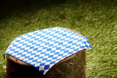 Pretty checkered cloth on a tree stump Stock Photography