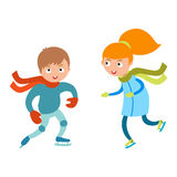 Pretty cheerful little girl and boy thermal suits skating outdoors vector. Stock Photography