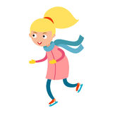 Pretty cheerful little girl thermal suits skating outdoors vector. Royalty Free Stock Photos