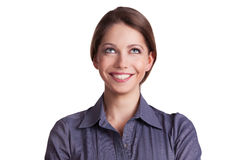 Pretty cheerful woman looking up Stock Photography