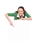 Pretty cheerful woman pointing Stock Photos