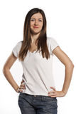 Pretty cheerful woman posing over white background Stock Photo