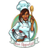 Pretty Chef with pot and spoon Royalty Free Stock Image