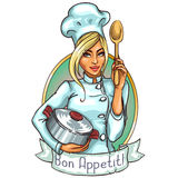 Pretty Chef with pot and spoon Stock Photography