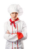Pretty chef standing with arms crossed Royalty Free Stock Images