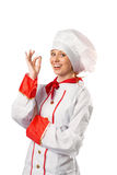 Pretty chef standing with arms crossed Royalty Free Stock Photos