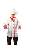 Pretty chef standing with hands out. On white background stock photos