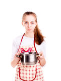 Pretty chef tainted meal  Royalty Free Stock Image