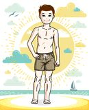 Pretty child boy standing in colorful stylish beach shorts. Vect. Or beautiful human illustration. Fashion theme clipart Royalty Free Stock Photo