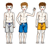 Pretty child boys standing in colorful stylish beach shorts. Vec Stock Image