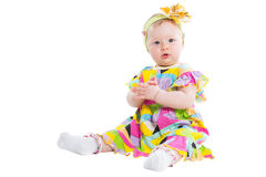 Pretty child girl claps his hands isolated Royalty Free Stock Images