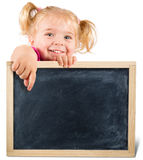 Pretty child holding a blackboard Stock Photos