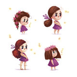 Pretty child illustration with nature firefly elements. Collection of hand drawn portrait of cute little girl with long brown hair standing  on white background Royalty Free Stock Image