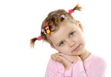 Pretty child look in to camera. Isolate on white Stock Photos