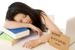 Pretty chinese asian student asleep on laptop Royalty Free Stock Photo