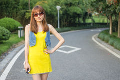 Pretty Chinese girl. With sun glass Stock Photography