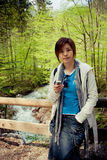 Pretty chinese girl. Taken on a travel in the magic forest in Germany Stock Photos
