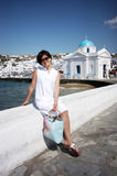 Pretty chinese girl. Taken on the island mykonos in Greece Stock Photography
