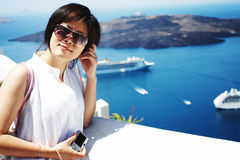 Pretty chinese girl. Taken on the island santorini in Greece Royalty Free Stock Photography