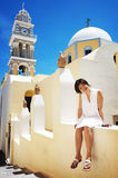 Pretty chinese girl. Taken on the island santorini in Greece Stock Photography