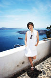 Pretty chinese girl. Taken on the island santorini in Greece Stock Photos