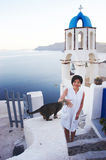 Pretty chinese girl. Taken on the island santorini in Greece Stock Image