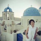 Pretty chinese girl. A girl in casual dress. taken on the island santorini, Greece Royalty Free Stock Photography