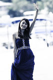 Pretty Chinese girl with blue full dress Stock Photo