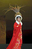 Pretty chinese taditional opera actress. CHENGDU - JUN 6: Chinese Gaojia Opera performer make a show on stage to compete for awards in 25th Chinese Drama Plum Royalty Free Stock Photos