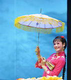 Pretty chinese traditional opera actress. Performs on stage Stock Image