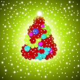 Pretty Christmas card greeting, fun colors. Tree made of daisies on green background with star lit sky Stock Image