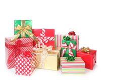 Pretty Christmas Gifts Wrapped up on White Royalty Free Stock Image
