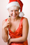 Pretty christmas girl. #3. Pretty laughing christmas girl in red. #3 royalty free stock photos