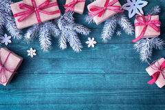 Pretty Christmas holiday border with gifts Stock Photography