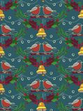 Pretty Christmas seamless bullfinch pattern.. Winter, Christmas bullfinch seamless pattern with bells, leaves, pine, berry, birds on the branch. Good for Stock Image