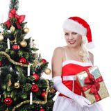 Pretty christmas woman with christmas tree Royalty Free Stock Image