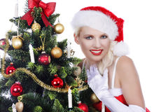 Pretty christmas woman with christmas tree Royalty Free Stock Images