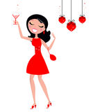 Pretty Christmas Woman holding glass with cocktail vector illustration