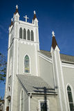 Pretty Church Steeple against Deep Blue Sky Stock Photos