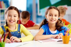 Pretty classmates Royalty Free Stock Photo