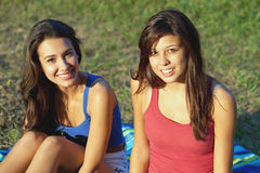 Pretty college girls. In an outdoor campus setting Stock Photography