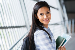 Pretty college student. Pretty female college student going to attend class Royalty Free Stock Photography